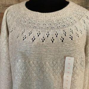 NWT EVRI brand sweater, size 1X beige